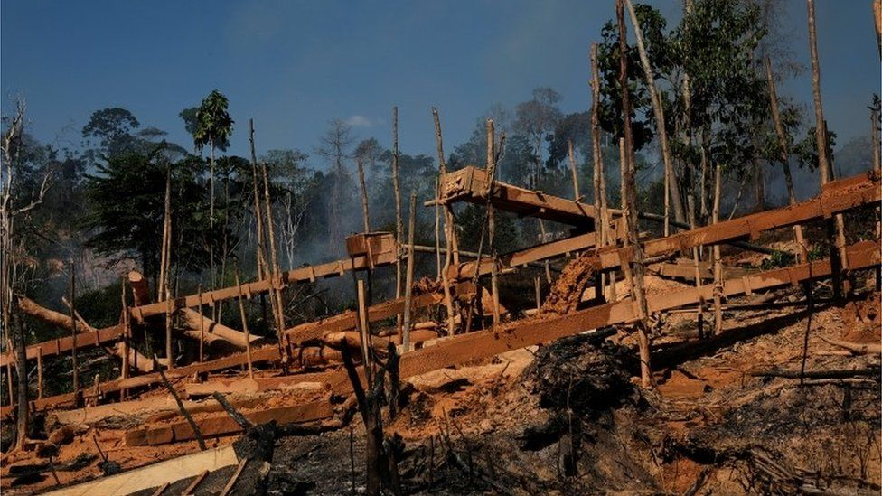 Sluice boxes at a wildcat gold mine at a deforested area of Amazon rainforest in Para state (14/09/2017)