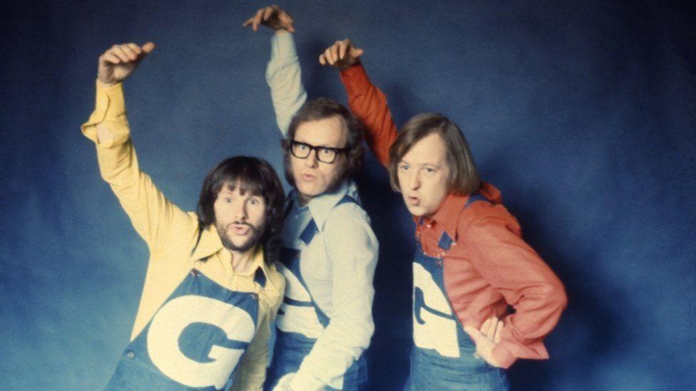 Bill Oddie, Graeme Garden and Tim Brooke-Taylor doing the 'Funky Gibbon' dance