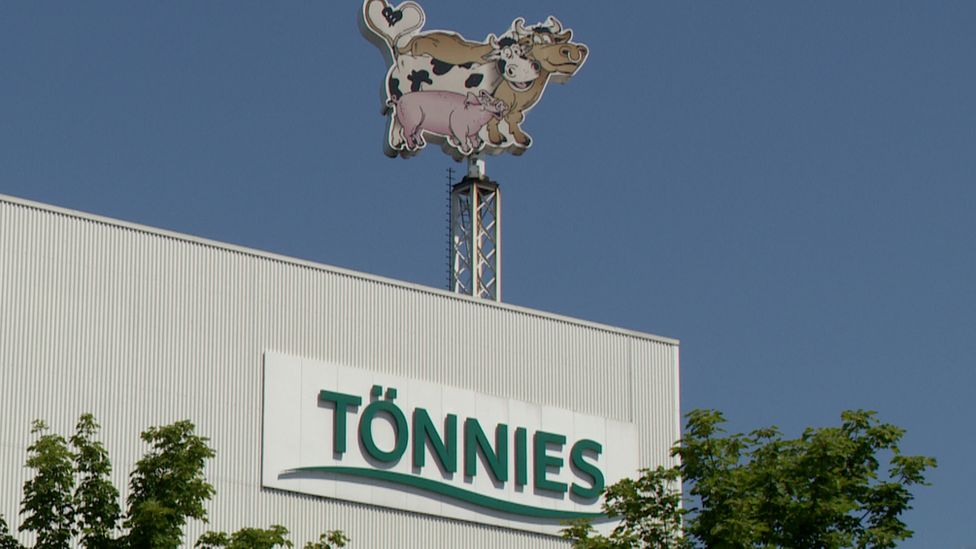Sign at the Tönnies meat processing factory in Gütersloh