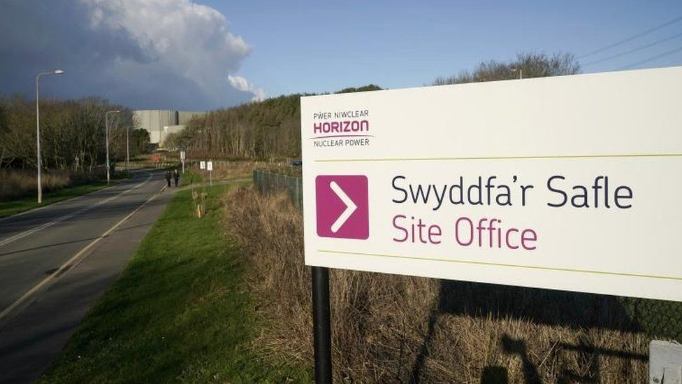 Sign of Hitachi subsidiary Horizon Nuclear Power outside its offices at Wylfa, Anglesey