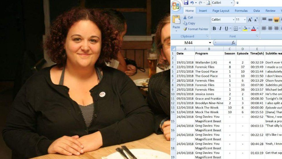Side-by-side collage of Ms Rayner-Jones and a screenshot showing her logging of inaccurate subtitles