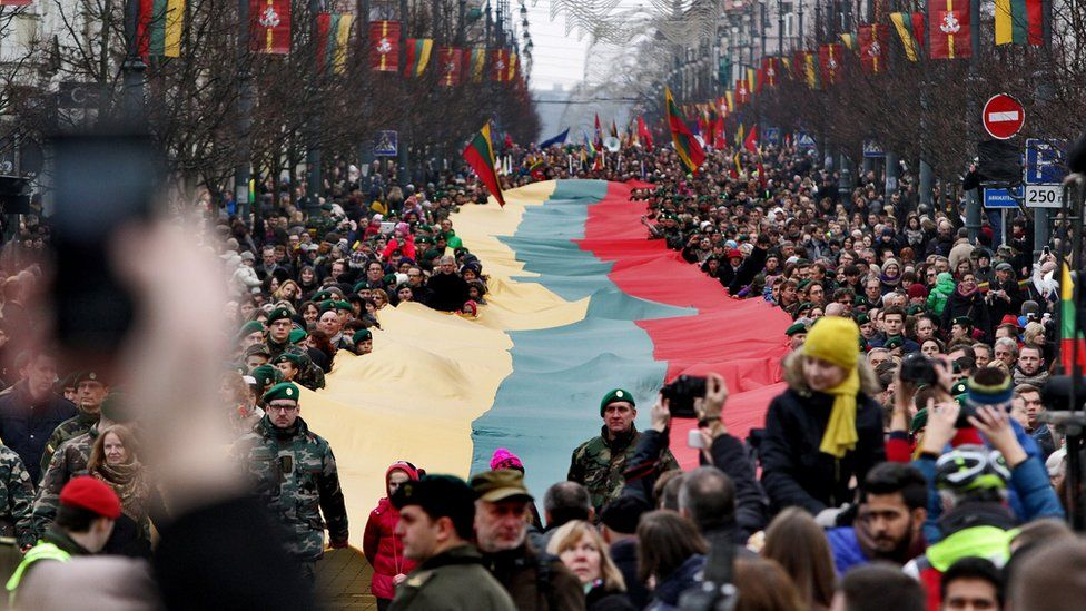 Parade to mark the 25th anniversary of the restoration of independence held in Vilnius in 2015