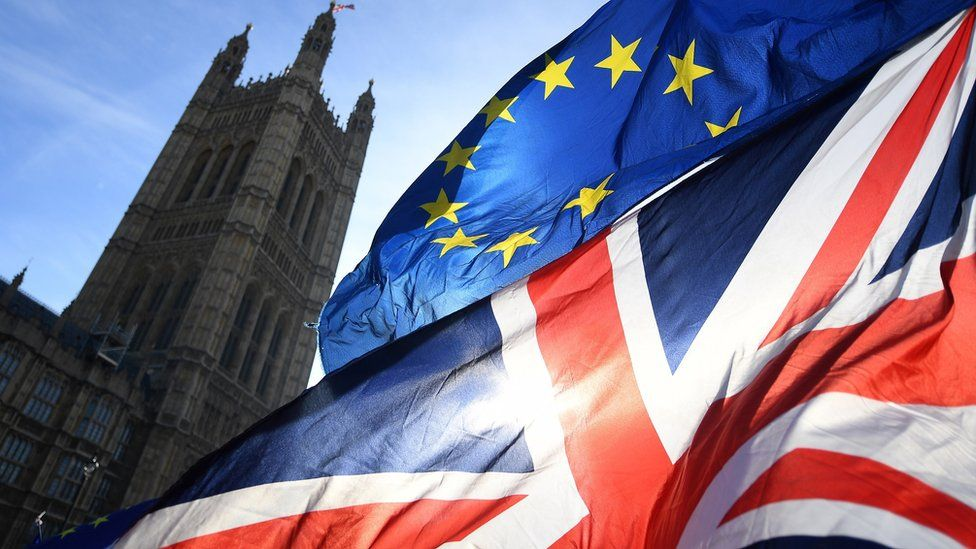 UK and EU flag flying in Westminster