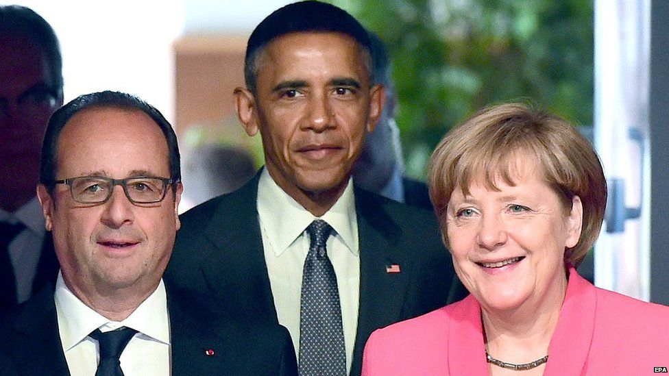 Francois Hollande, Barack Obama and Angela Merkel at the G7 summit in Germany. 8 June 2015