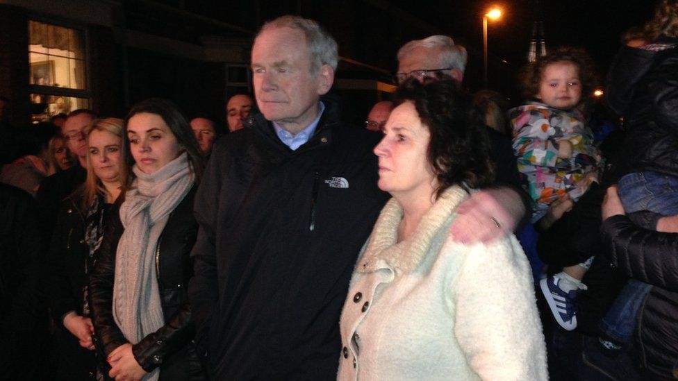 Martin McGuiness at a rally outside his house after he announced he will not stand for re-election