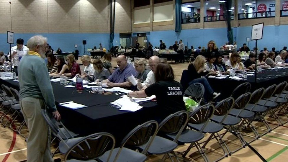Votes being counted in Stroud