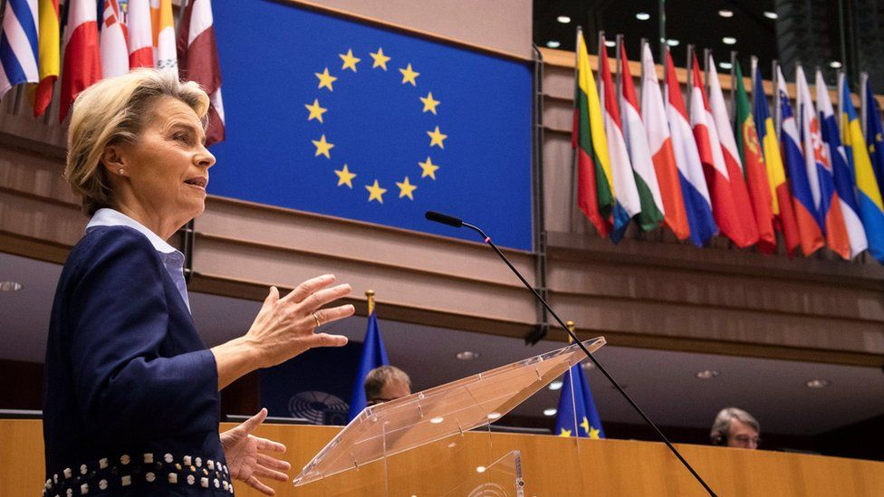 Ursula von der Leyen speaking to the European Parliament