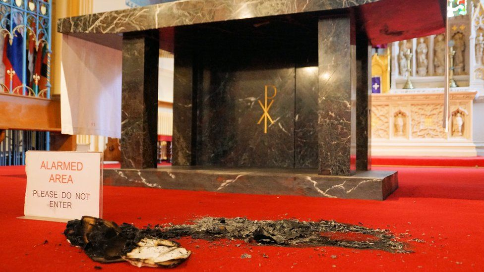 Alter with remnants of a fire