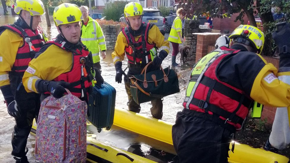 Flood rescue in Hereford