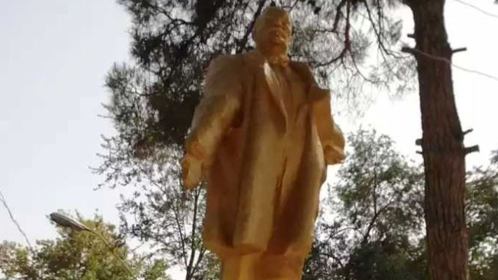 Restored Lenin statue in Shahritus, Tajikistan, 2018