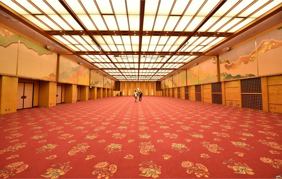 View of a banquet hall at Japan's iconic Hotel Okura in Tokyo on 31 August 2015