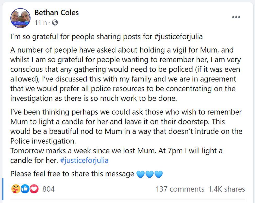 Bethan Coles Facebook post