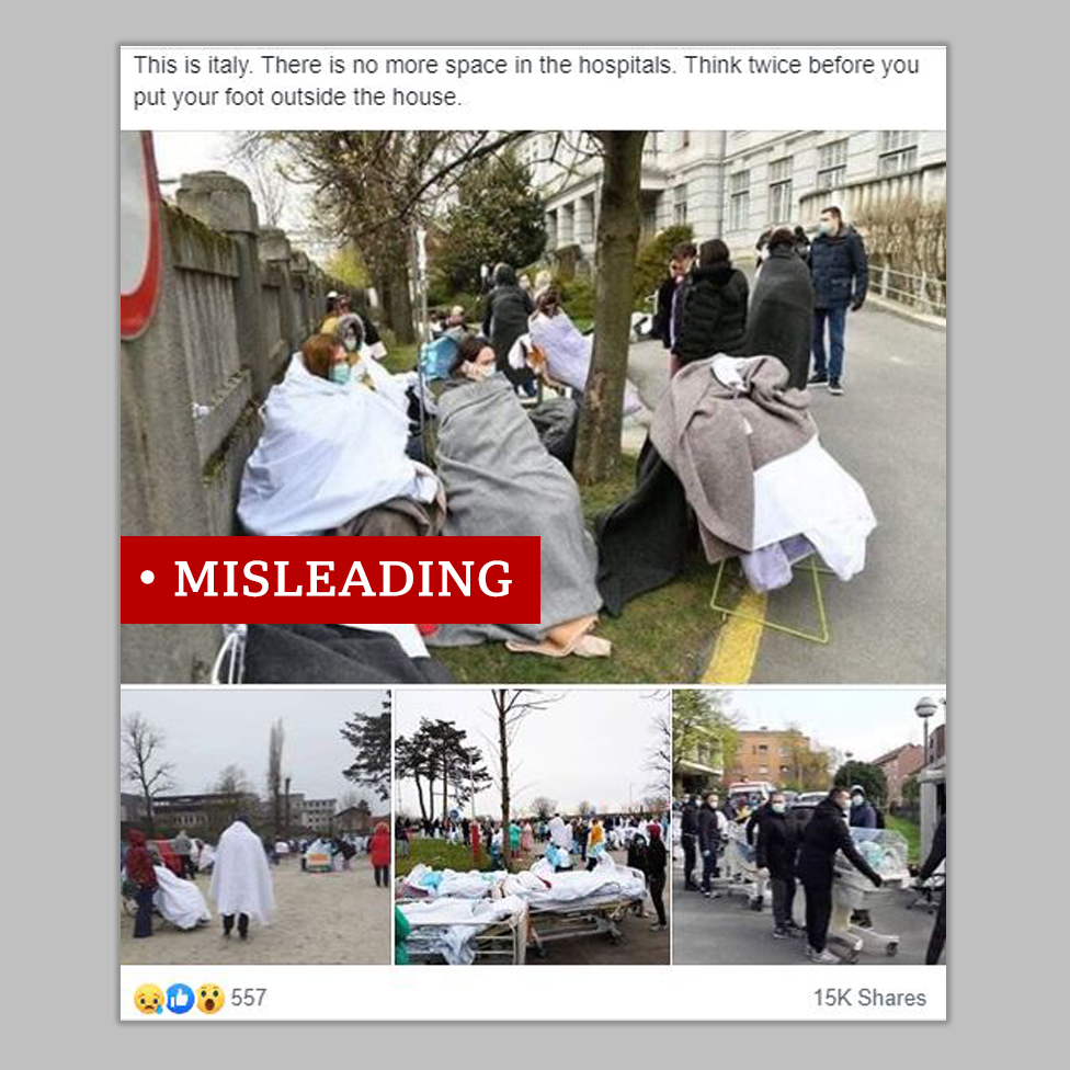 Screenshot of a Facebook post with photos from the aftermath of an earthquake in Croatia. The poster incorrectly claims they were taken of patients in Italy