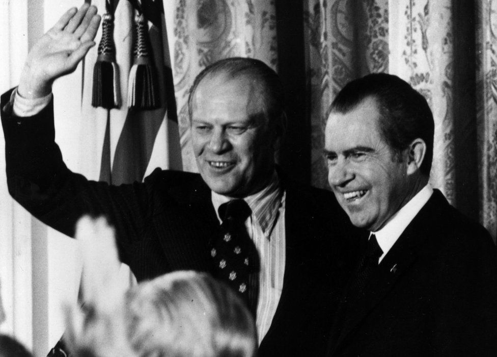 Gerald Ford and Richard Nixon, pictured in 1973