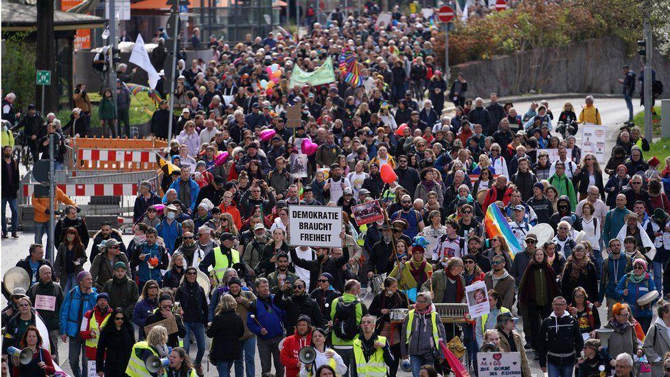 A Querdenken march in Stuttgart