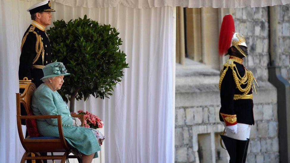 Queen Elizabeth II during her official birthday ceremony at Windsor Castle