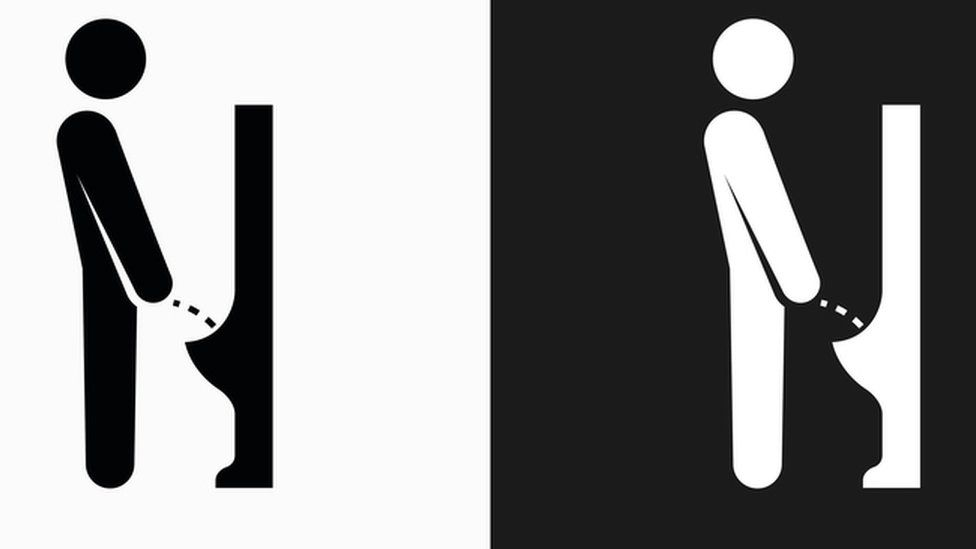 Graphics of a man using a urinal