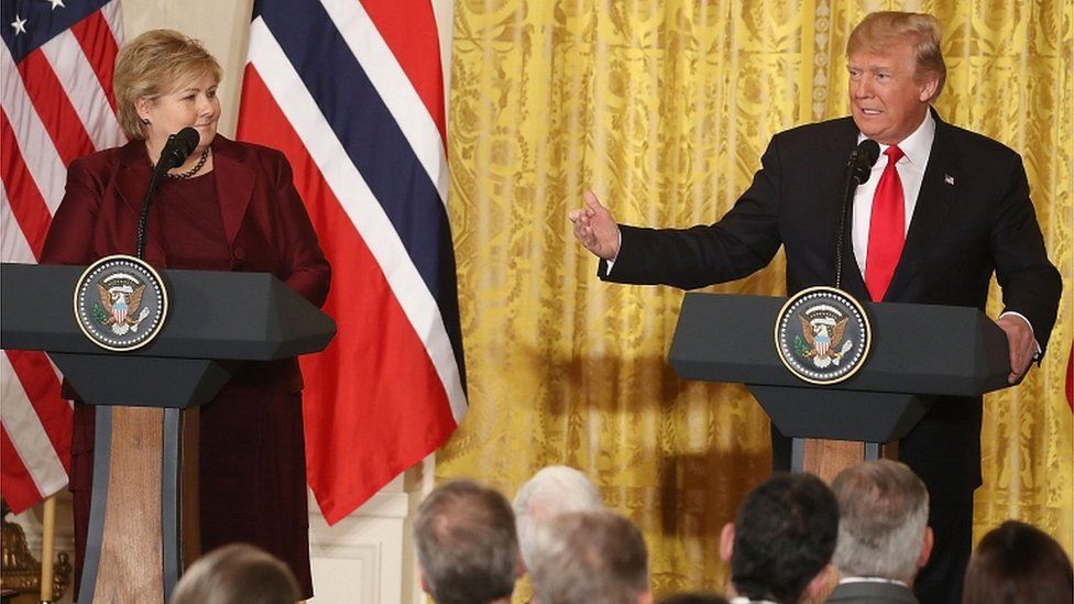 US President Donald Trump and Prime Minister Erna Solberg of Norway speak to the media during a news conference at the White House on 10 January 2018