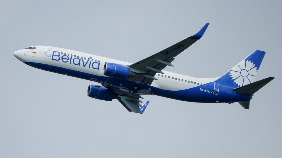 A Boeing 737-800 plane of Belarusian state carrier Belavia takes off at the Domodedovo Airport outside Moscow