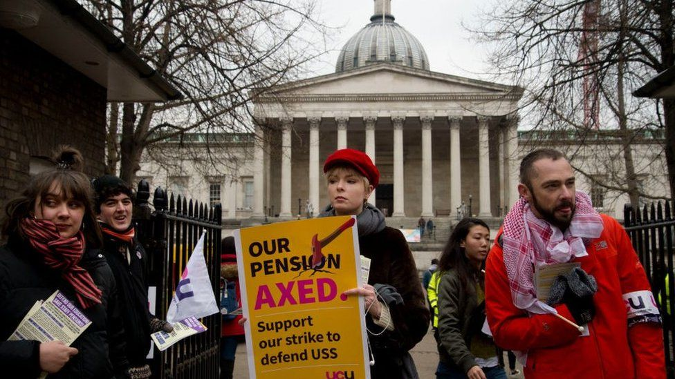 University staff in the picket line outside UCL in February 2018