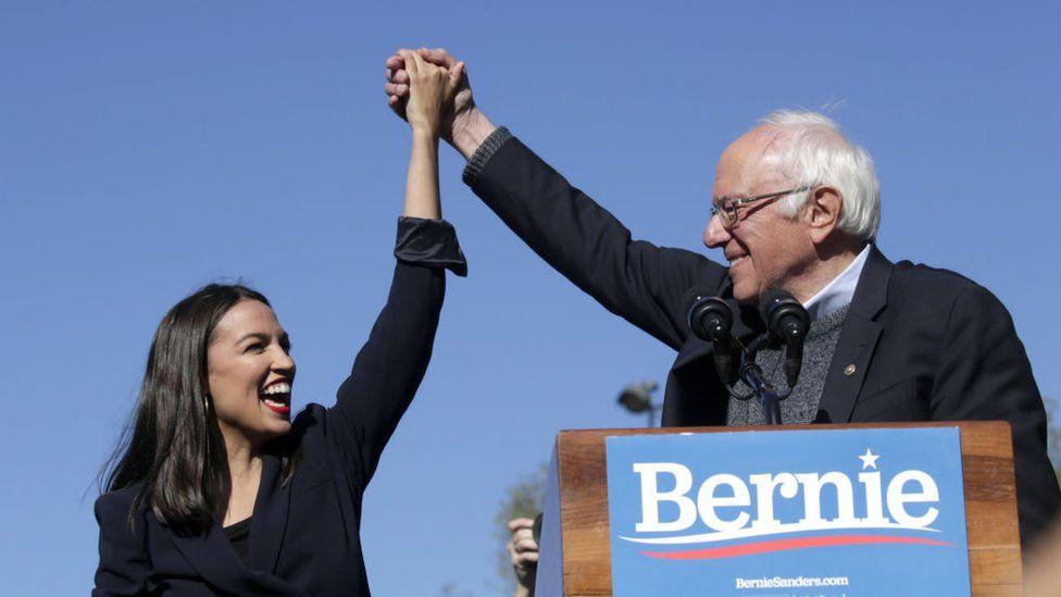Alexandria Ocasio-Cortez and Bernie Sanders