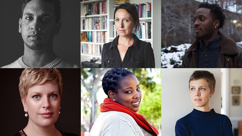 Dylan Thomas prize shortlist nominees Guy Gunaratne, Zoe Gilbert, Nana Kwame Adjei-Brenyah, Sarah Perry, Novuyo Rosa Tshuma and Louisa Hall