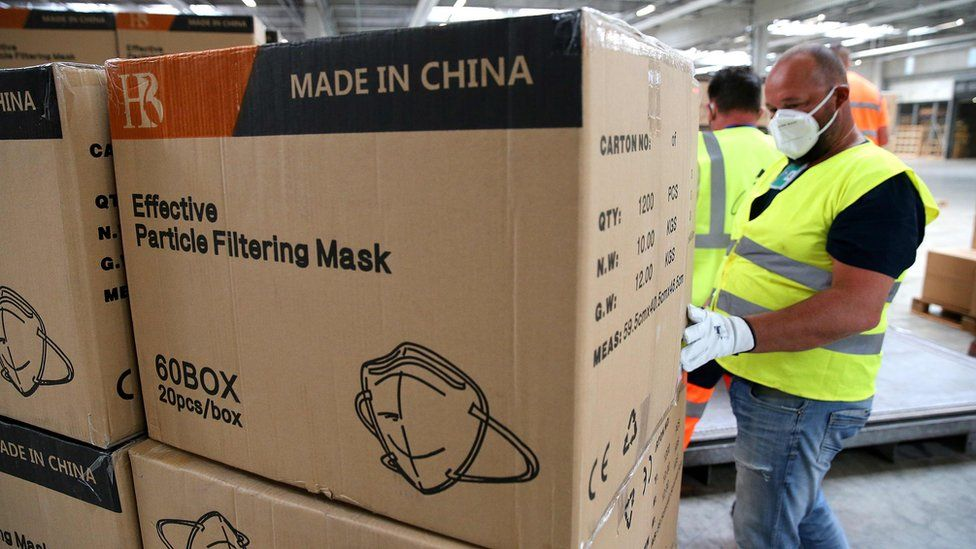 Chinese-made masks arrive in France