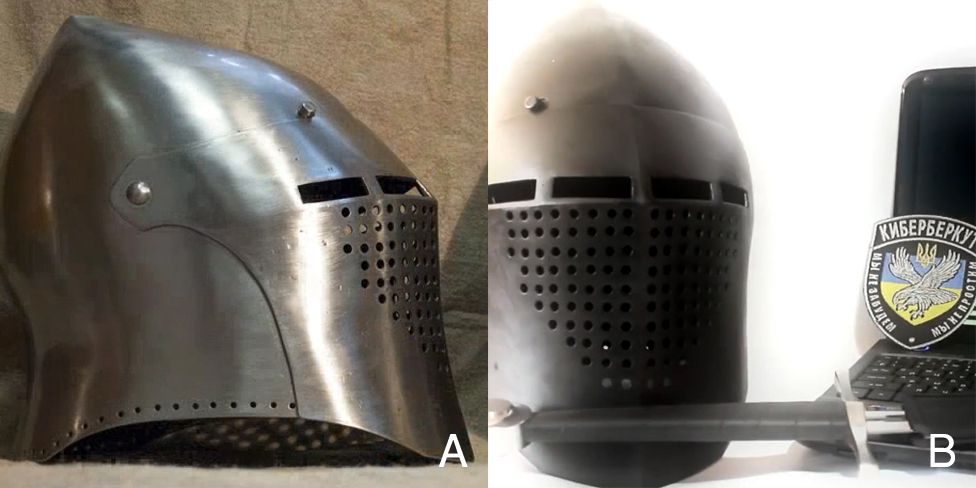 A limited edition hand-made knight's helmet. Dalyant Maximus bought one of these helmets in 2014