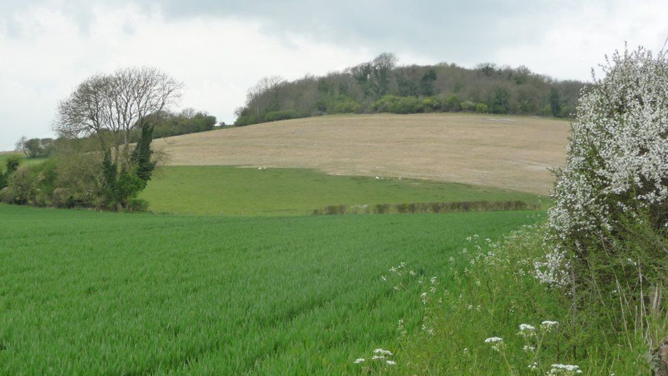 The damaged chalk downland at Weatherby Castle