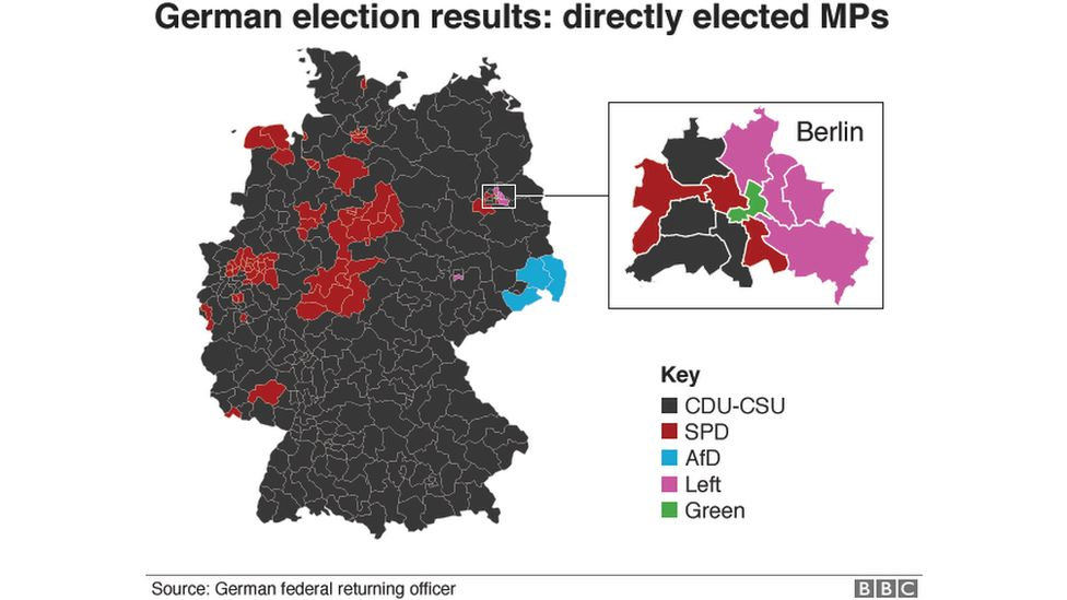 Map showing where MPs were elected