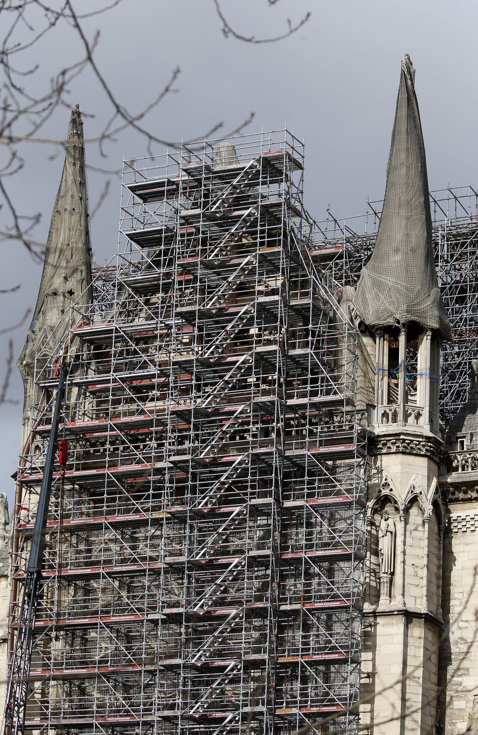 Scaffolding seen on the Notre-Dame cathedral
