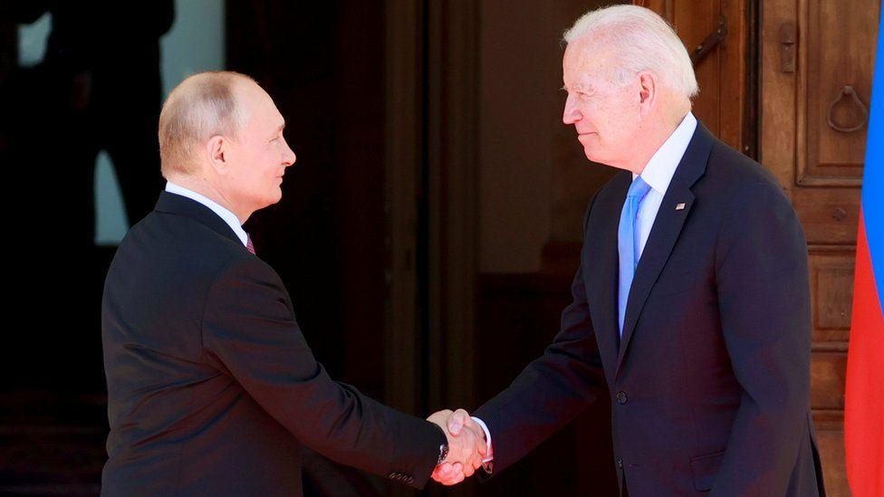 "US President Joe Biden (R) and Russia""s President Vladimir Putin (L) meet during the US-Russia summit at Villa La Grange in Geneva, Switzerland, 16 June 2021."