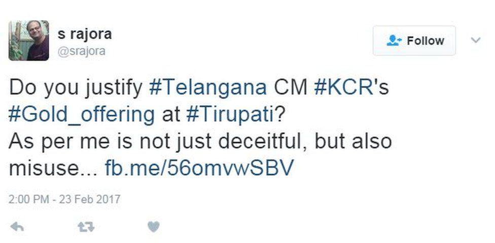 Do you justify #Telangana CM #KCR's #Gold_offering at #Tirupati?