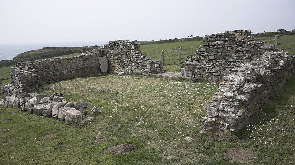ancient ruins of St Non's church