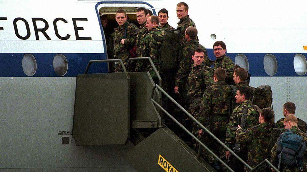 British troops leaving Northern Ireland in November 1997
