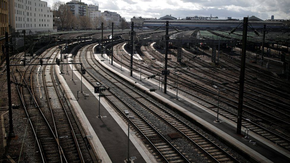 """Empty platforms are pictured at Gare de l""""Est train station during a nationwide strike by French SNCF"""