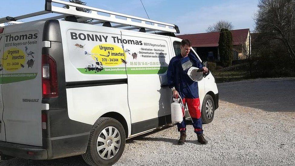Pest controller Thomas Bonny in Burgundy, France