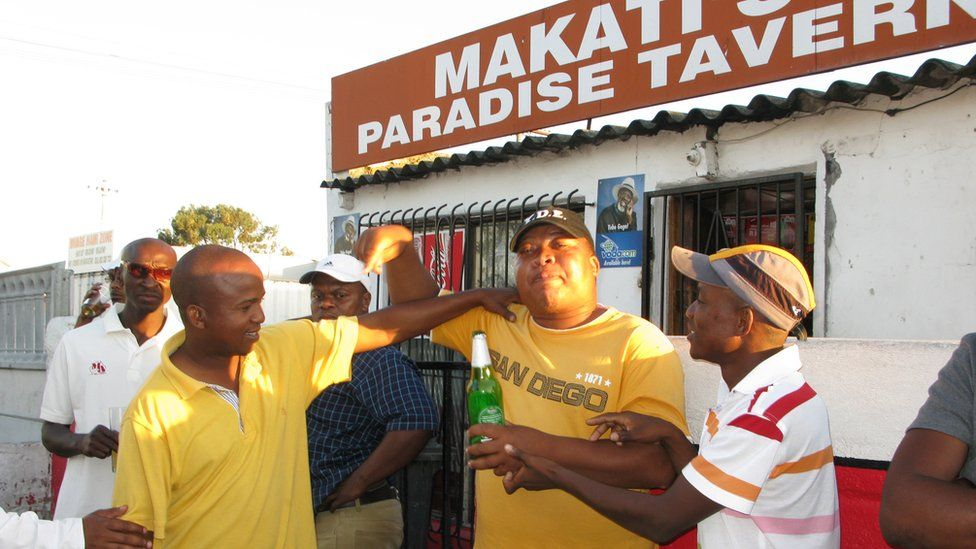 Drinkers at a shebeen near Cape Town, South Africa - archive shot