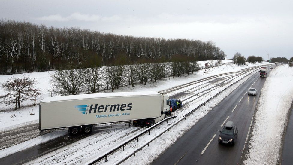 A jacknifed lorry on the A14 in Northampton