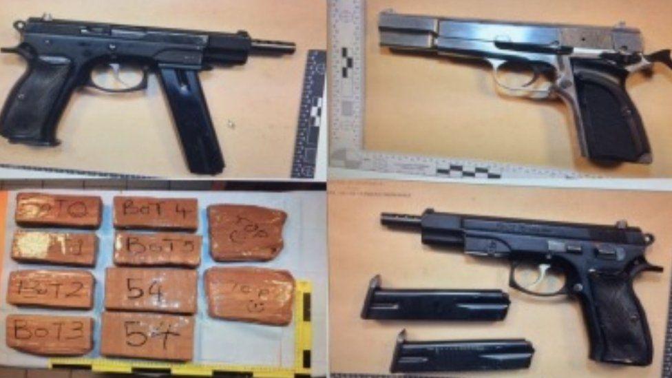 Three guns and several bricks of drugs