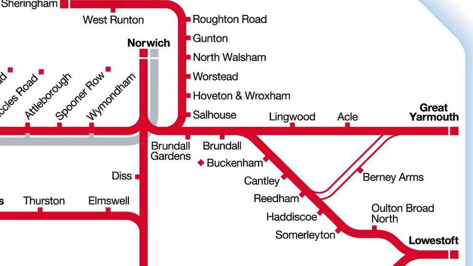 Greater Anglia route map