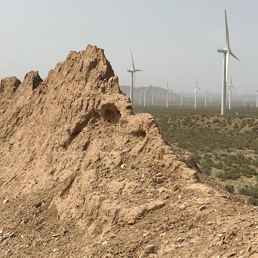 The Great Wall and wind turbines at Ningxia