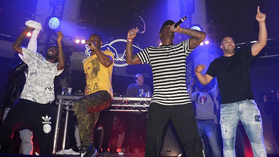 Giggs and Skepta performing in London in 2015