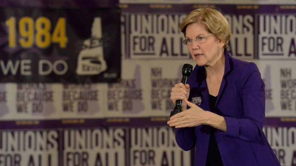Senator Elizabeth Warren speaks at the Holiday Inn in Concord, New Hampshire