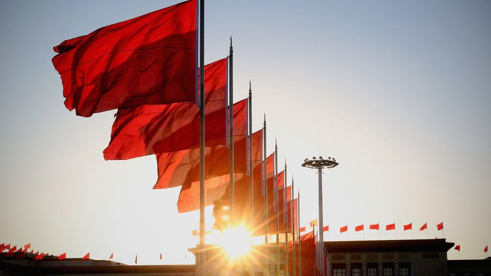 Chinese flags in Beijing