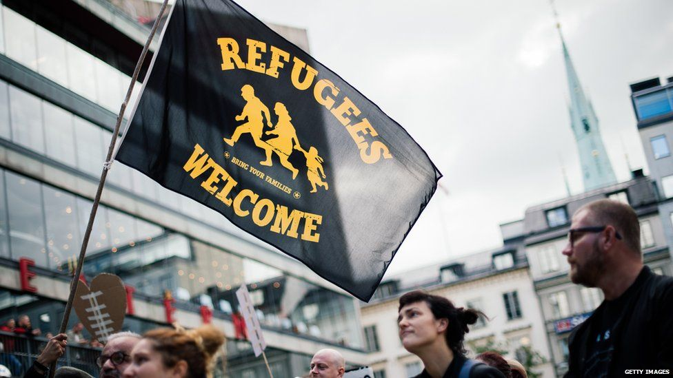 Protest in solidarity with refugees in Stockholm, Sweden
