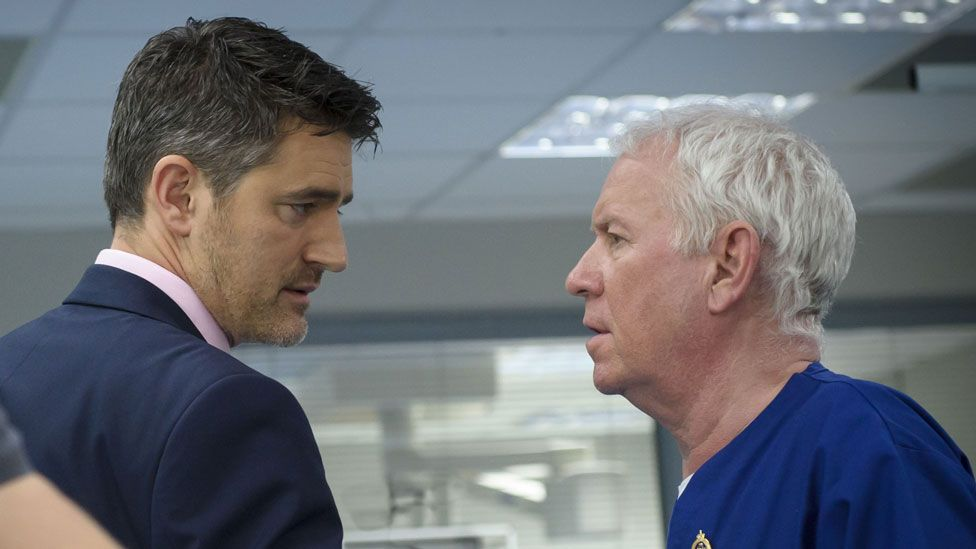 Tom Chambers with Derek Thompson in Casualty