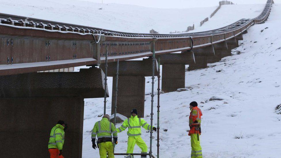 Work crew at funicular railway