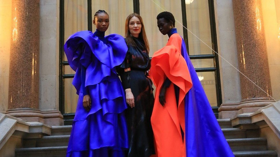 Roksanda with two of her models at her spring 2020 London Fashion Week show