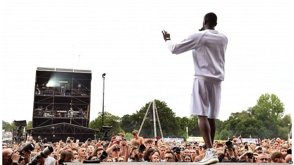 Grime artist Stormzy performing at this year's V festival